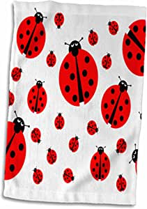 3drose HENRIK lehnerer 设计–插图–图像与许多不同尺寸 ladybugs 在白色背景 .–毛巾