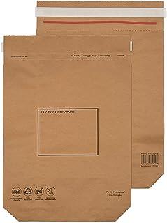 纯包装 KMB1164 420 x 340 x 80 mm 结实的回收 Kraft 三角布邮袋(100 包) - 自然棕色