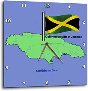 3dRose dpp_49044_2 Flag and Map of The Commonwealth of Jamaica with Waving Jamaican Flag-Wall Clock, 13 by 13-Inch