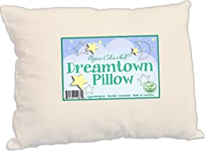 Dreamtown Kids Toddler Pillow with Organic Cotton Shell and Down Alternative, Hypoallergenic Filling 13x19, Natural Un-Ble...