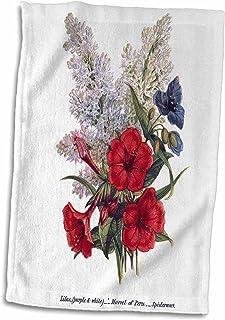 3D Rose 复古淡紫色秘鲁之威蜘蛛侠图案红白蓝花朵毛巾 38.10 cm x 55.88 cm,多色