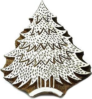 印度木印章圣诞树印章手工雕刻印刷块纺织印章 棕色 5 L X 4 W Inches PB2402A