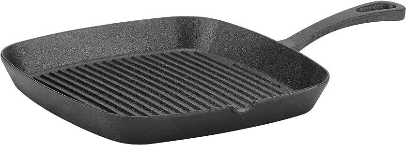 "Cuisinart CI45-30CR 厨师经典珐琅铸铁 12 英寸鸡锅带盖 铸铁黑色 9.25"" Square Grill Pan CIPS30-23"