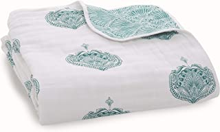 aden + anais Dream 毛毯,* 纯棉平纹细布,4 层轻质透气,大号 119.38 x 119.38 厘米 Paisley - Teal - Paisley Drop