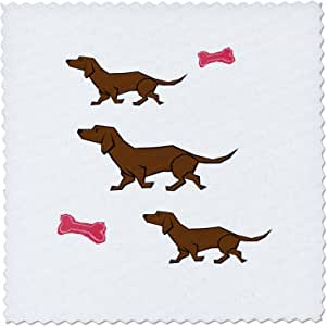 3dRose 3 Cartoon Dachshunds with Red Bones - Quilt Square, 8 by 8-Inch (qs_46552_3)