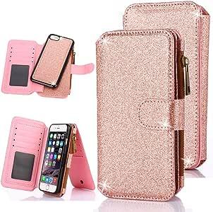iPhone 6S 手机壳,iPhone 6 手机壳,CaseUp 12 卡槽系列 - [拉链现金存储] 高级翻盖 PU 皮钱包式手机壳带可拆卸磁硬壳适用于 Apple iPhone 6S / 6(4.7 英寸) - iPhone 6/6S - Glitter Rose Gold