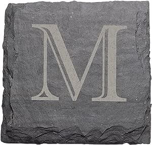 "J.K. Adams 4-Inch Square Monogrammed Initial Slate Coasters, Set of 4,""M"""
