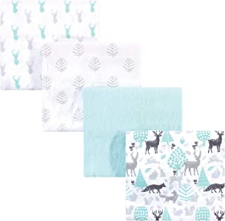 Hudson Baby 中性款 婴儿棉法兰绒裹毯,Linocut Woodland,单一尺寸