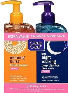 Clean & Clear Burst Burst 日夜洁面乳,2件装,柑橘,含维生素C和黄瓜,含海矿物质的夜间轻松洁面乳,无油,低致敏性,16盎司(约453.59克),480毫升