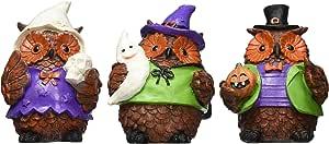 3 件套万圣节猫头鹰节日装饰雕像