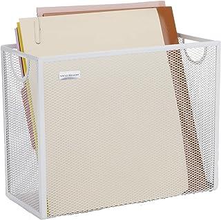 Mind Reader FILEBASK-WHT 金属网状储物篮适用于信件、法律文件、文件夹、办公室整理、白色