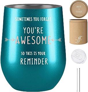送给女性的励志礼物,感谢您的礼物,有时您忘记你是杰出的 So This Is Your Reminder,Fancyfams 12 盎司不锈钢酒杯,同事礼物送给女士, 蓝*