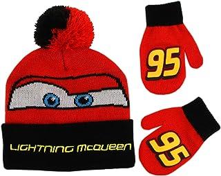 Disney 迪士尼男孩幼儿汽车闪电麦昆帽和手套冬季套装,红色/黑色,适合 2-4 岁儿童