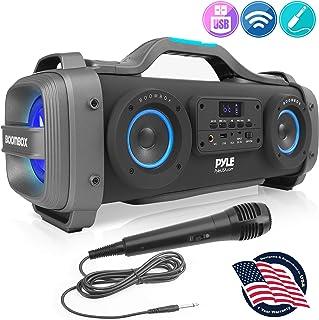 无线便携式蓝牙 Boombox 扬声器 - 800 W 可充电 Boom Box 音箱便携式桶状大声立体声系统,带 AUX 输入,USB,1/4 英寸,Fm 收音机,4 英寸低音炮,DJ 灯 - Pyle PBMSPG148