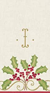 Entertaining with Caspari Christmas Embroidery Paper Linen Guest Towel, Monogrammed I, Box of 24