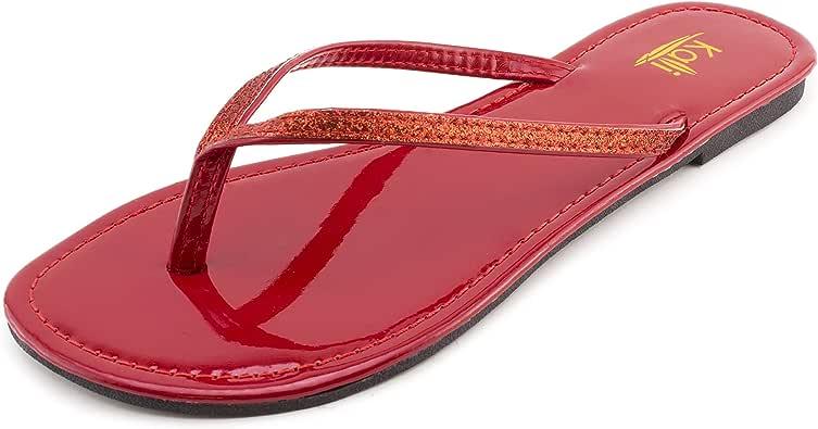 Kali 女士基础人字拖平底凉鞋(成人) 红色 10 M US