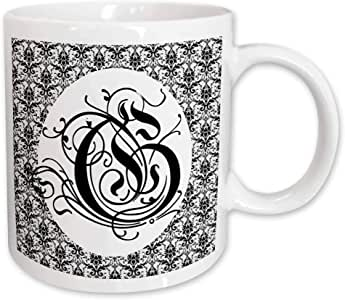 3dRose Ruritania Letter G with Small Black and White Pattern Damask Art Ceramic Mug, 11-Ounce