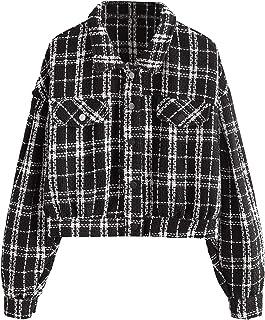 SweatyRocks 女式优雅长袖前开襟格子花呢夹克外套