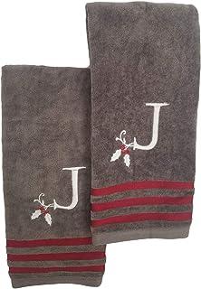 Winter Wonderland 圣诞刺绣 J 字母组合手巾套装,2 件