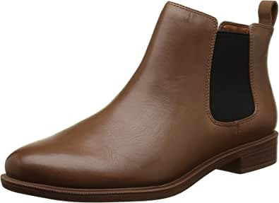 Clarks 女式 Taylor Shine 切尔西短靴 Brown Tan Leather 4 UK