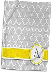 "3dRose InspirationzStore Monograms - 您个人名字的首字母 A - 交织灰色四瓣花图案 - 个性化黄灰色 - 毛巾 多种颜色 15"" x 22"" twl_154567_1"