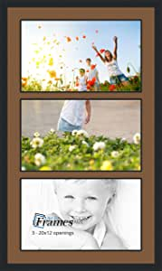 ArtToFrames Collage Photo Frame Double Mat with 3-12x20 Openings and Satin Black Frame