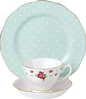 Royal Albert 40034974 现代复古 40034975 茶壶,3件套,奶油色和糖,精细瓷器,多色