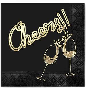 Cheers 装饰 100 件和 50 件一次性派对餐巾纸,12.7 x 12.7 cm 折叠,特殊场合 Black Cheers Celebration 50 Pieces