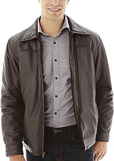 excelled 男式新西兰羔羊皮织物皮革经典开口夹克