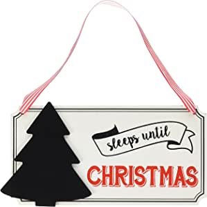 Ginger Ray VN-235 Vintage Noel Sleeps Until Christmas Hanging Advent Chalkboard Sign, Multicolor