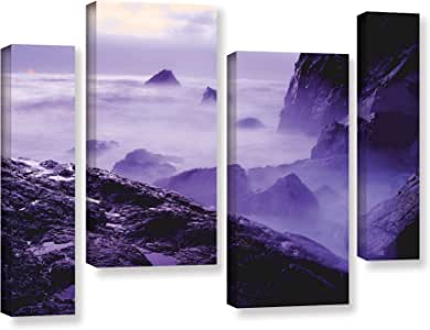 """ArtWall Dean Uhlinger 4 Piece Patricks Point Sunset Gallery-Wrapped Canvas Staggered Set, 36 by 54"""""""