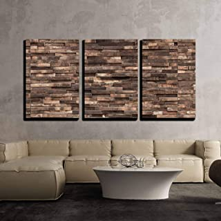wall26 - 3 Piece Canvas Wall Art - Decorative wooden wall background texture, natural wallpaper pattern - Modern Home Deco...