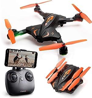 可折疊無人機帶攝像頭,適合成人和兒童 - F111WF WiFi FPV 遙控四旋翼飛行器無人機初學者,可折疊遙控無人機直升機玩具禮品