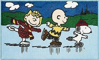 Nourison Peanuts 滑冰装饰区域地毯,史努比、查理·布朗和露西 - 45.72 x 76.2 厘米矩形,聚酯纤维绒面带防滑防滑乳胶背衬