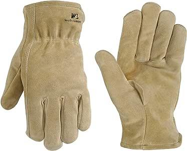 Wells Lamont 1063L 男式带绒面牛皮牛皮的工作手套,大号,山棕 XL 4009446