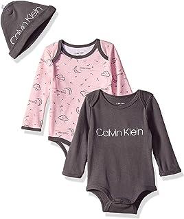 Calvin Klein 女婴 2 件装长袖连体衣带帽子