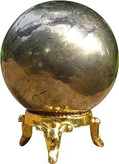HARMONIZE **石平衡球黄铁石艺术桌装饰 Gold Tone and Black (Iron Pyrite) RED GIFT POUCH (50mm - 55mm) CDR1001E