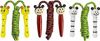 ESUORK 儿童跳绳 - 木柄棉绳 - 可爱动物 - *的健身活动 - 乐趣 3 件套 - 全天乐趣 - 男孩和女孩跳绳 - 女孩和男孩跳绳