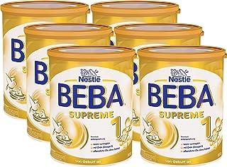Nestlé BEBA雀巢贝巴 SUPREME 1段初始婴儿奶粉:适合新生儿 即冲即饮 富含植物油 , 6罐装 (6 x 800g)(不含助溶剂,冲泡需用力摇,冲后有结晶非品质问题,请放心食用)