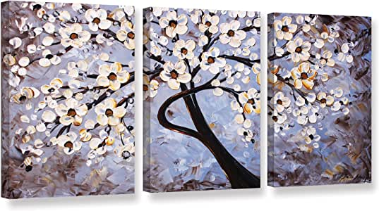 """ArtWall 3 Piece Jolina Anthony's Cherry Blossoms Gallery Wrapped Canvas Set, 36""""x 72"""""""
