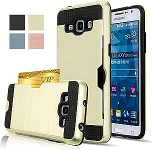 Grand Prime 手机壳,AnoKe 【信用卡插槽夹】【不钱包】硬质硅橡胶混合装甲防震保护套三星 G531 G530H G5308 * KLS Gold