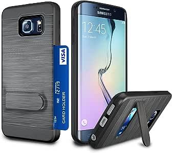 Galaxy S6 Edge 手机壳,S6 Edge 卡夹套,Jeylly [金属缎面]卡夹带支架混合双层硬塑料+柔软 TPU 防摔保护壳适用于三星 Galaxy S6 G925 黑色