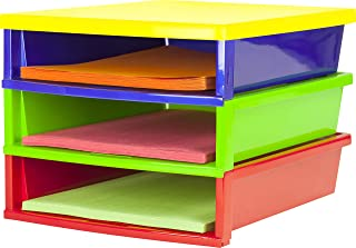 Storex Quick Stack Construction Paper Sorter 13 x 11.25 x 8.4 Inches 多种颜色