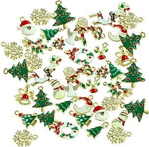 48 件散装混合金色珐琅圣诞挂坠 DIY 用品项链手镯耳环首饰制作和手工 48pcs-A Charms 48pcs A