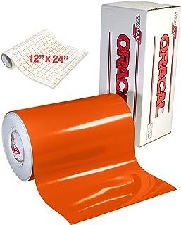 橙色光泽卷 Oracal 651 永久性粘合背胶乙烯基,用于手工切割机、压花机和乙烯基标志切割机(30.48 厘米 x 38.1 厘米,含转印纸)