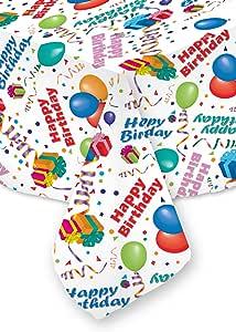 "Happy Birthday Tablecloth 餐厅高品质面料机洗和干燥 无皱 免烫 无污渍 美国制造 白色 70"" X 84"" HBWH70X84"
