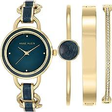 ANNE KLEIN 女式礼品套装夏洛特石英手表 模拟显示 皮革表带