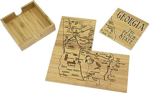完全竹子州拼图 4 件套竹子杯垫套装 带盒子…… Georgia