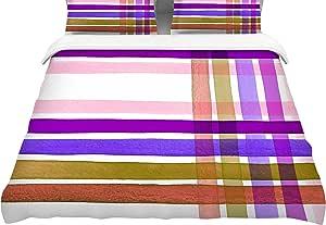 "KESS InHouse JD1314ACD02 Ebi Emporium ""彩色格子条纹""粉色紫色中号双人床棉被套,223.52 x 223.52cm,"