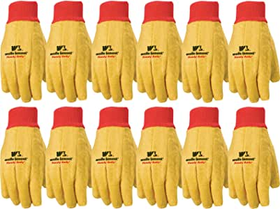 Wells Lamont 棉质衬里男士工作手套,12 双 超大 金色 412XL